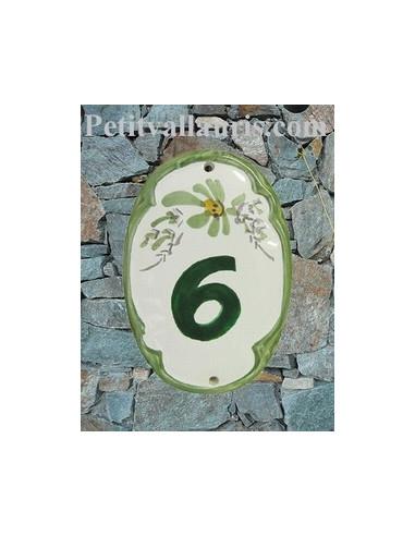 Plaque de porte en faïence émaillée ovale chiffre fleur verte