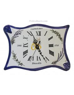 Horloge en faience modèle parchemin pour anniversaire de mariage + inscription personnalisée + bord bleu