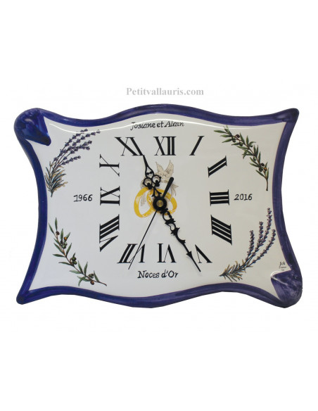 Horloge modèle parchemin anniversaire de mariage bord bleu