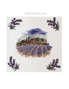 Carreau 15 x 15 cm décor récolte lavande + brins d' olives