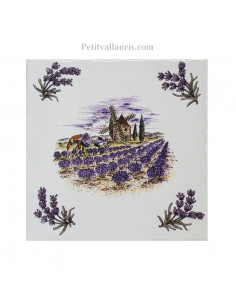 Carreau 15 x 15 cm décor bastide champs lavande + brins de lavande