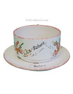 Tasse à déjeuner et sous tasse décor fleurs rouge orangé