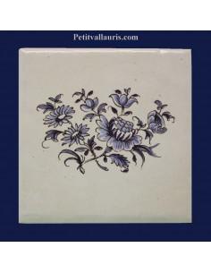Carreau décor gros bouquet décor Tradition Vieux Moustiers bleu