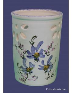 Porte et support ustensile de cuisine en faience ajouré Fleur bleue