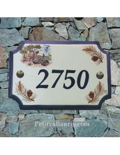 Plaque de Maison rectangle décor calanque et olives noires inscription personnalisée bleue