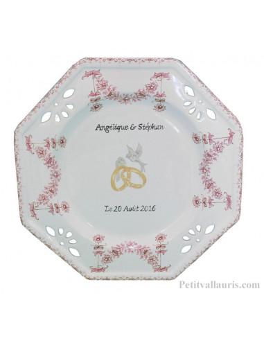 Assiette de Mariage octogonale décor tradition vieux moustiers rose