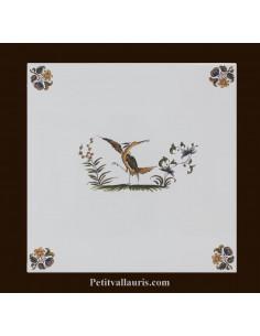Carreau décor 3905 polychrome Tradition Vieux Moustiers