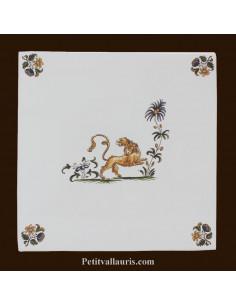 Carreau décor 3907 polychrome Tradition Vieux Moustiers