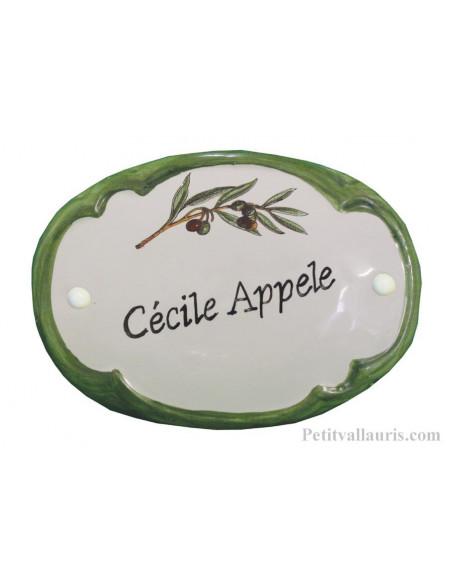 Plaque de porte ovale chiffre branche d'olivier