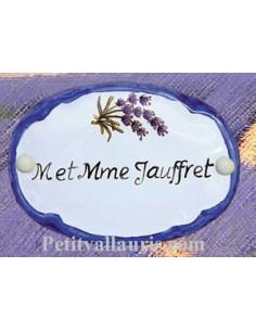 Plaque de porte ovale bleue décor brins de lavande