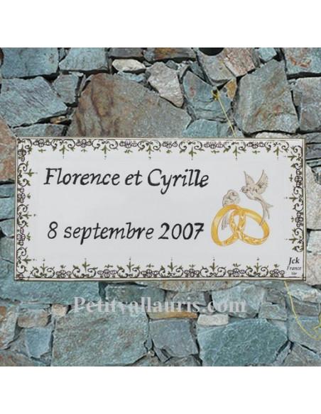 Petite plaque rectangulaire en faience décorée avec alliances et colombes pour anniversaire de mariage avec personnalisation
