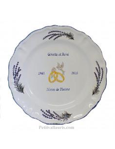 Assiette anniversaire de mariage Louis XV décor brins de lavandes