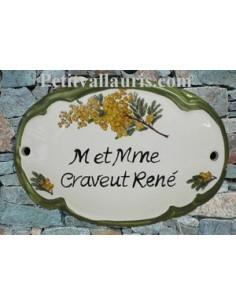 Plaque de porte ovale verte décor brins de mimosas