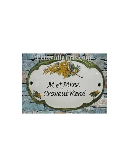 Plaque de porte en faience blanche modèle ovale décor brin de mimosas avec inscription personnalisée et bord vert