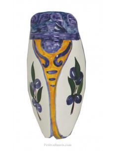 Cigale faïence céramique décor provençal olives bleues T3
