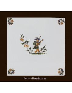 Carreau décor 3910 polychrome Tradition Vieux Moustiers