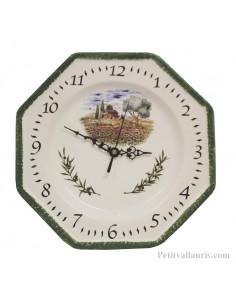 Horloge octogonale en faïence décor Champ Coquelicots bord vert