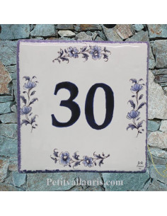 Numéro de Maison pose horizontale décor tradition vieux moustiers bleu chiffre bleu
