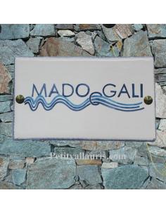 Plaque de Villa rectangle signalitique inscription personnalisée et bord bleu