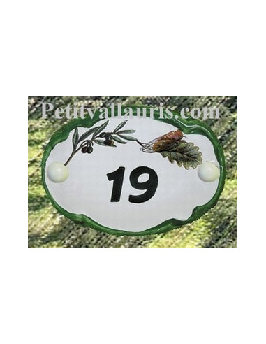 Plaque de porte ovale verte cigale et olives
