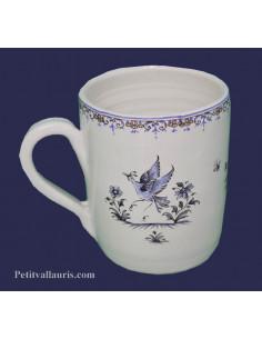 Chope - Mug décor Tradition Vieux Moustiers bleu personnalisé prénom
