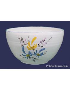 Saladier en faience décor fleurs jaunes et bleues