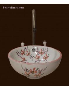 Vasque bol ronde en porcelaine décor fleurs bleues