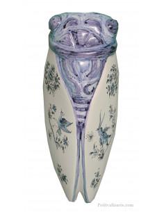 Grande cigale murale en céramique décor inspiration Vieux Moustiers bleu (Taille 5)