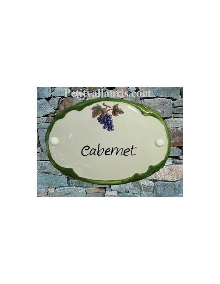 Plaque de porte ovale verte décor grappe de raisin