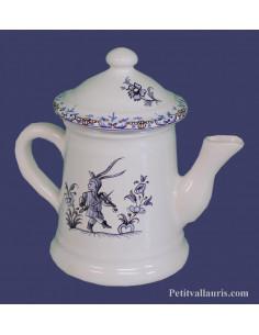Petite Cafetière miniature en faïence décor Tradition Vieux Moustiers bleu