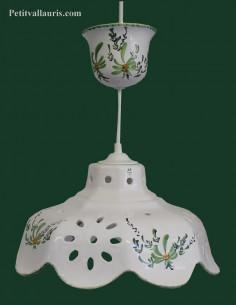 Suspension décorative céramique décor Fleuri vert