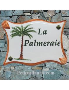 Plaque parchemin pour votre maison en céramique Le Palmier