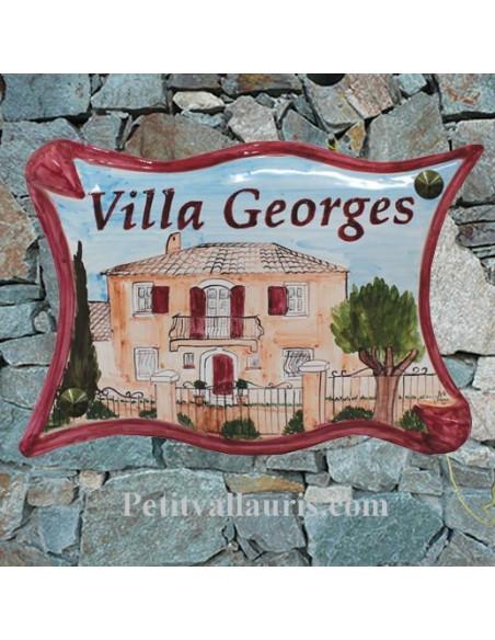 Plaque pour villa parchemin décor personnalisé Villa Var