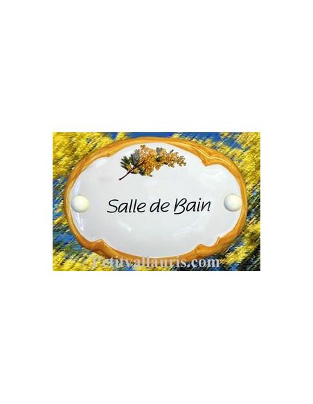 Plaque de porte modèle ovale décor brin de mimosas avec inscription Salle de Bain