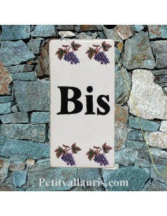 Plaque de rue inscription BIS décor brins d'olives