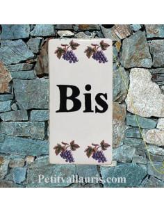 Plaque de rue inscription BIS décor brins d'olives