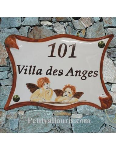Plaque de maison en céramique décor personnalisé Anges