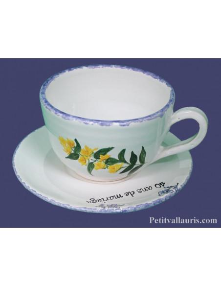 Tasse à thé décor et inscription personnalisée décor brins de gentiane