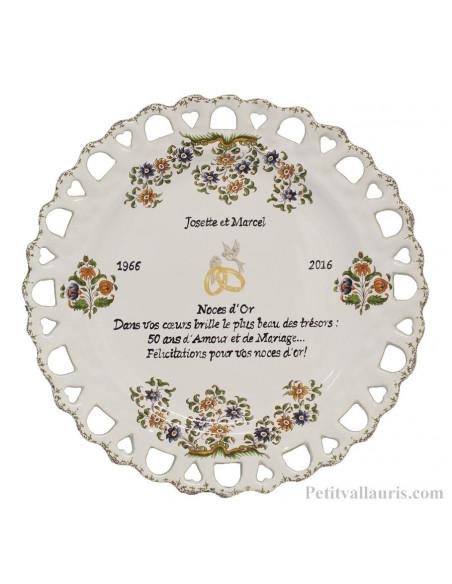 Assiette de Mariage modèle Tournesol inscription présentée avec citation noces d'or (modifiable)