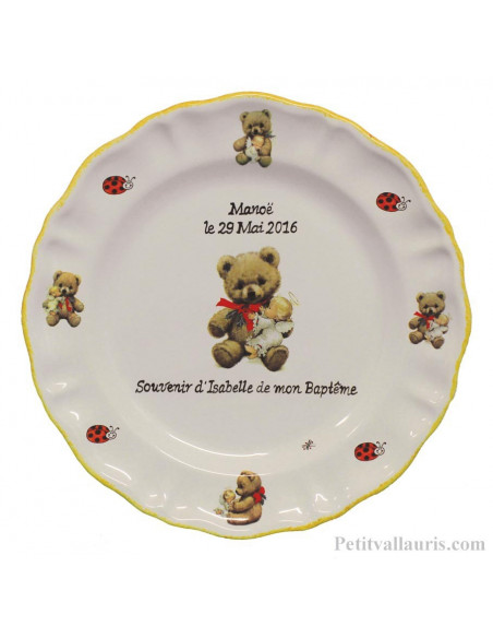Assiette Louis XV souvenir de baptême décor Oursons