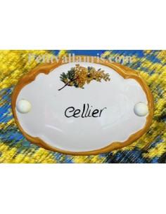 Plaque de porte ovale Cellier brin d'olivier