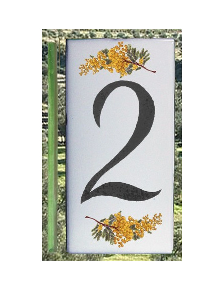 Numero de rue chiffre 2 décor brins de mimosas
