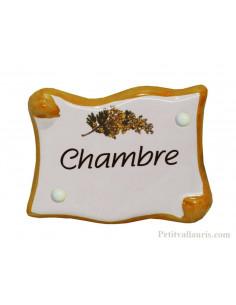 Plaque de porte en faience émaillée blanche modèle parchemin motif mimosas inscription Chambre