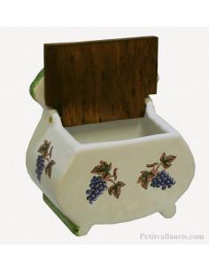 Boîte pot à sel en faience décor Grappe de raisin