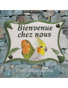 Plaque pour maison parchemin en céramique décor Mésanges