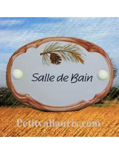Plaque de porte ovale Salle de bain décor pigne de pin