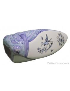 Cigale murale en céramique inspiration Tradition Vieux Moustiers bleu taille 4