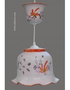 Suspension décorative céramique dentelée Cloche fleurie verte
