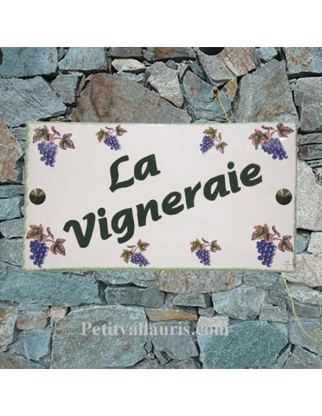 Plaque de Maison rectangle décor grappes de raisin inscription personnalisée bord verte