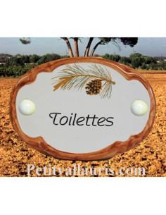Plaque de porte ovale Toilettes décor pigne de pin